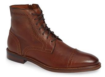 Brown cap toe dress boots