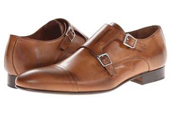 light brown double monkstrap shoes