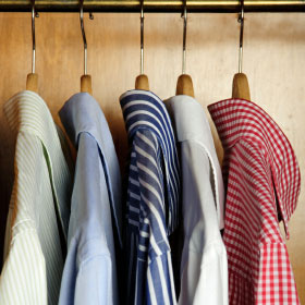 shirts in wardrobe