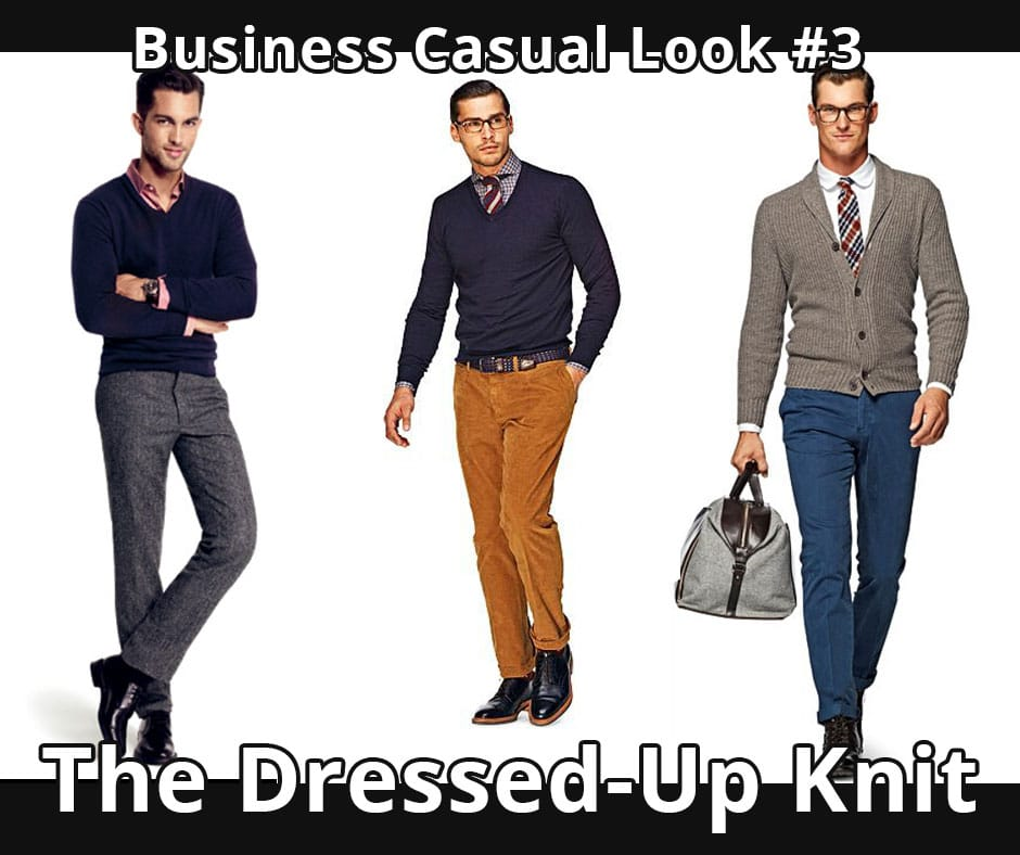 For men, appropriate business casual attire is dress slacks or chinos, a shirt with or without a tie, dark socks, and dress shoes. Avoid wearing polo shirts to an interview, even if they are acceptable for the job in question. Do not wear jeans or shorts.