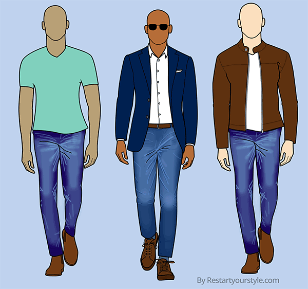 Raw denim outfits with 1) a simple t-shirt and Chelsea boots, 2) a shirt and blazer, 3) a simple tee and leather jacket