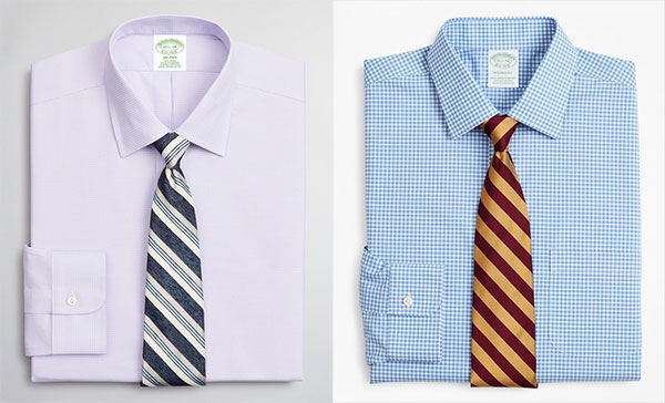 Brooks brothers Dress Shirts in lavender and blue gingham