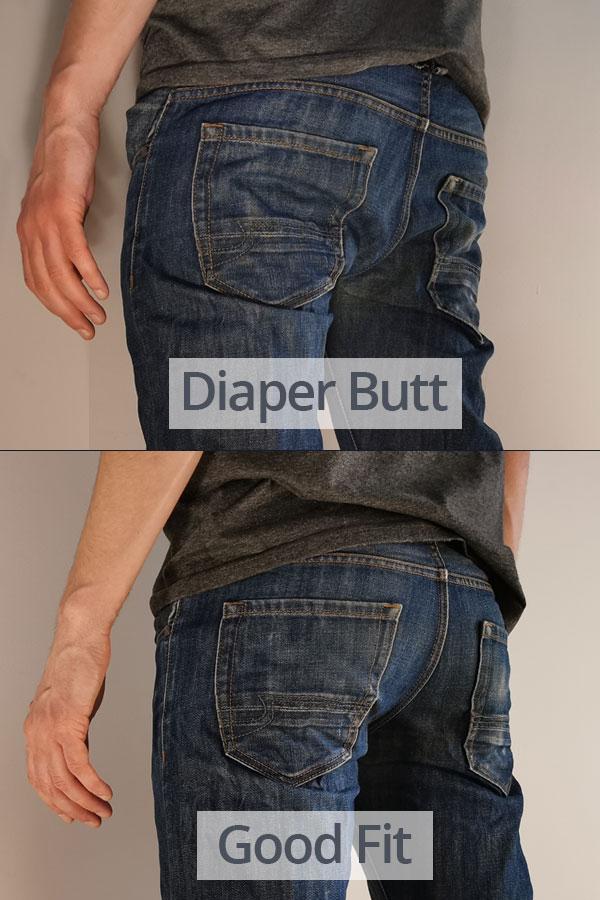 Diaper butt VS good jeans fit