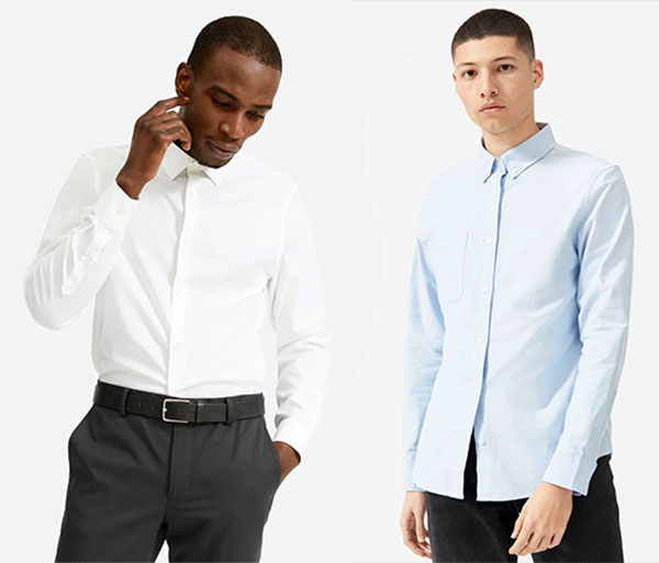 Two men wearing Everlane Dress Shirts in white and light blue