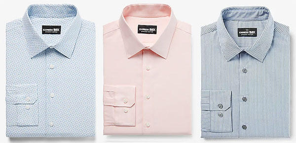 Express 1MX Dress Shirt in blue pattern, solid pink and blue stripes