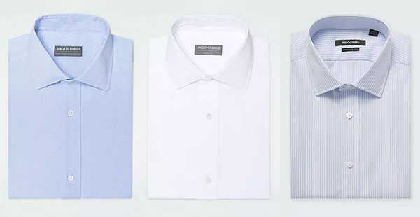 Indochino Dress Shirts in blue, white and striped