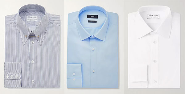 Mr. Porter Dress Shirts in striped, blue and white
