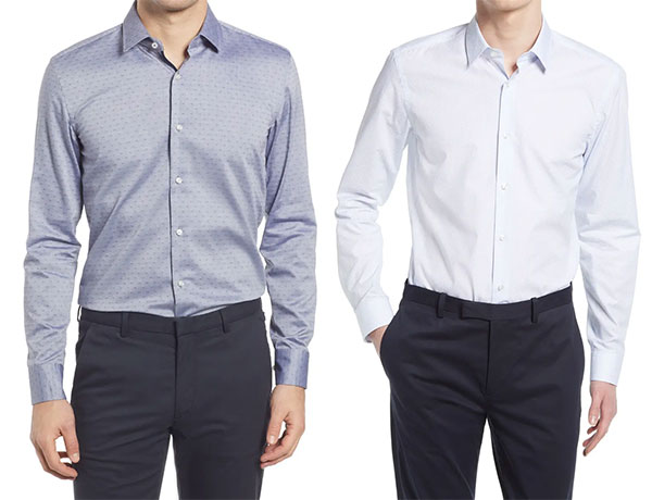 Nordstrom Business Casual Shirts in medium blue and light blue