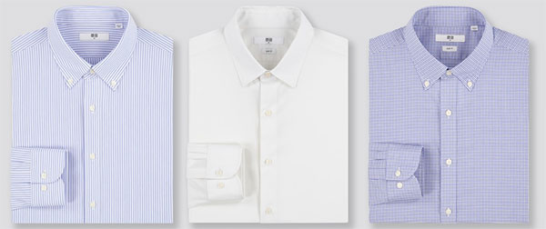 Uniqlo dress shirts in blue stripes, white solid and blue check