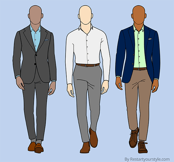 Outfits with business casual shirts: 1) with a suit, 2) with dress pants, 3) with dress pants and a blazer