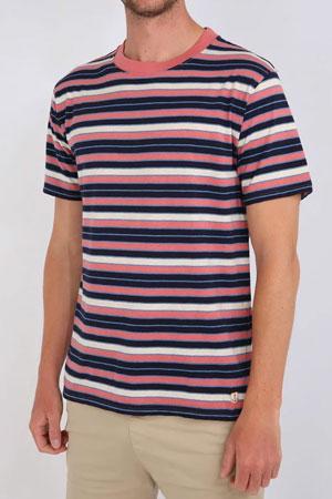 Pink-blue striped T-shirt