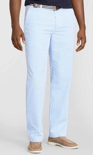 Blue seersucker dress pants