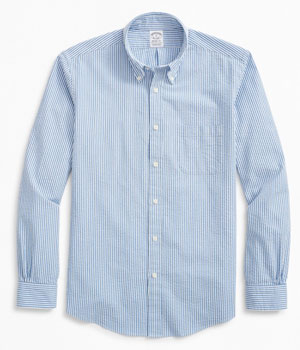 blue seersucker shirt