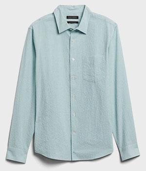 Green seersucker shirt