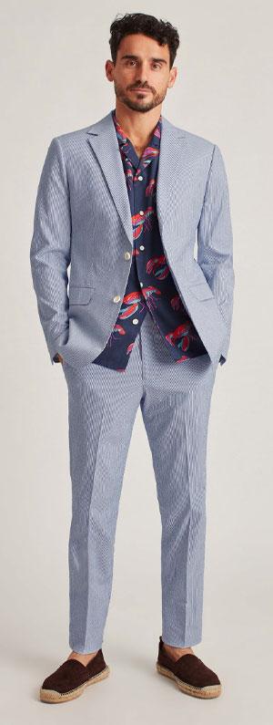 Blue seersucker suit